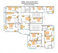 Схема расположения номеров 2, 3, 4-й этаж, Пансионат Московский, Судак, Крым
